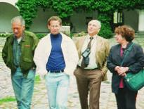 Misha Berov (left) and Dimi Panitza (3rd from left) of the Free and Democratic Bulgaria Foundation, an early member of the Centers for Pluralism, with Eric Chenowth and Irena Lasota, in 1993.